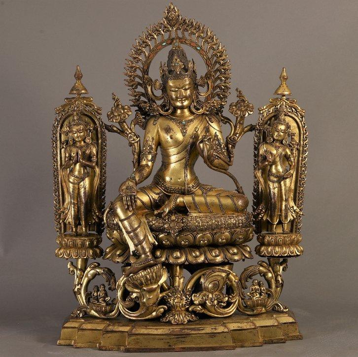 Large Exceptional Gilt Bronze Figure of Green Tara