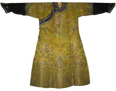 A Rare Yellow Embroidered Twelve-Symbol Dragon Robe