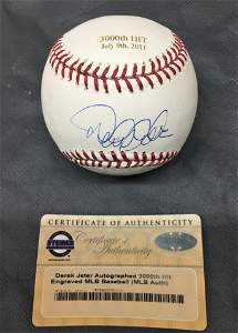 "Autographed Derek Jeter ""3000th Hit"" Baseball"
