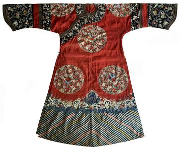 Qing Dyn. Chinese Red Silk Embroidered Ladie's Robe