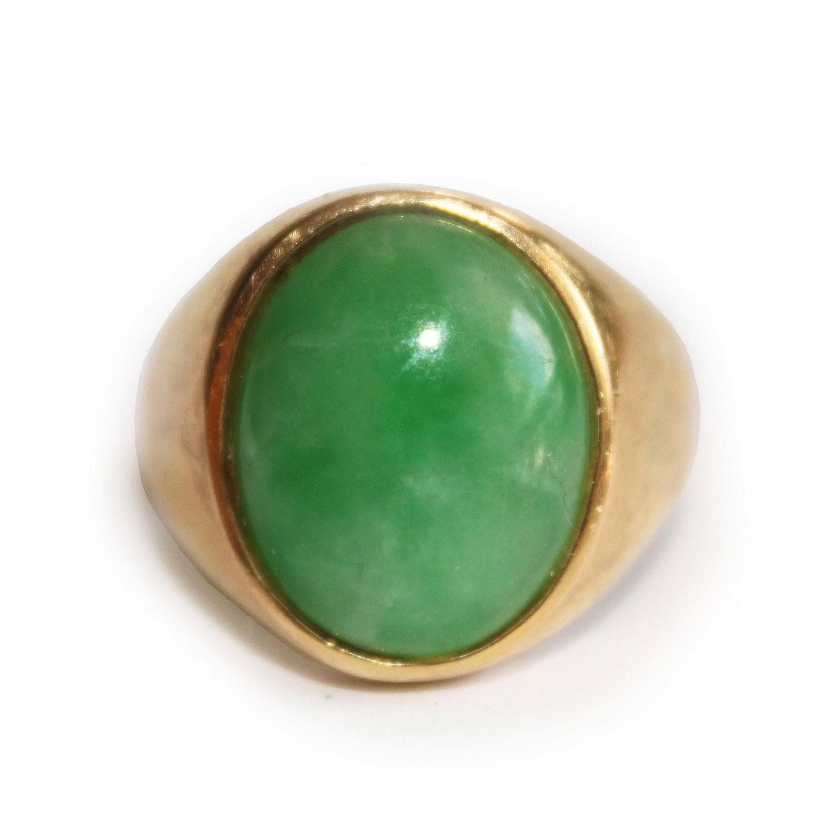 14K Gold And Green Jadeite Ring