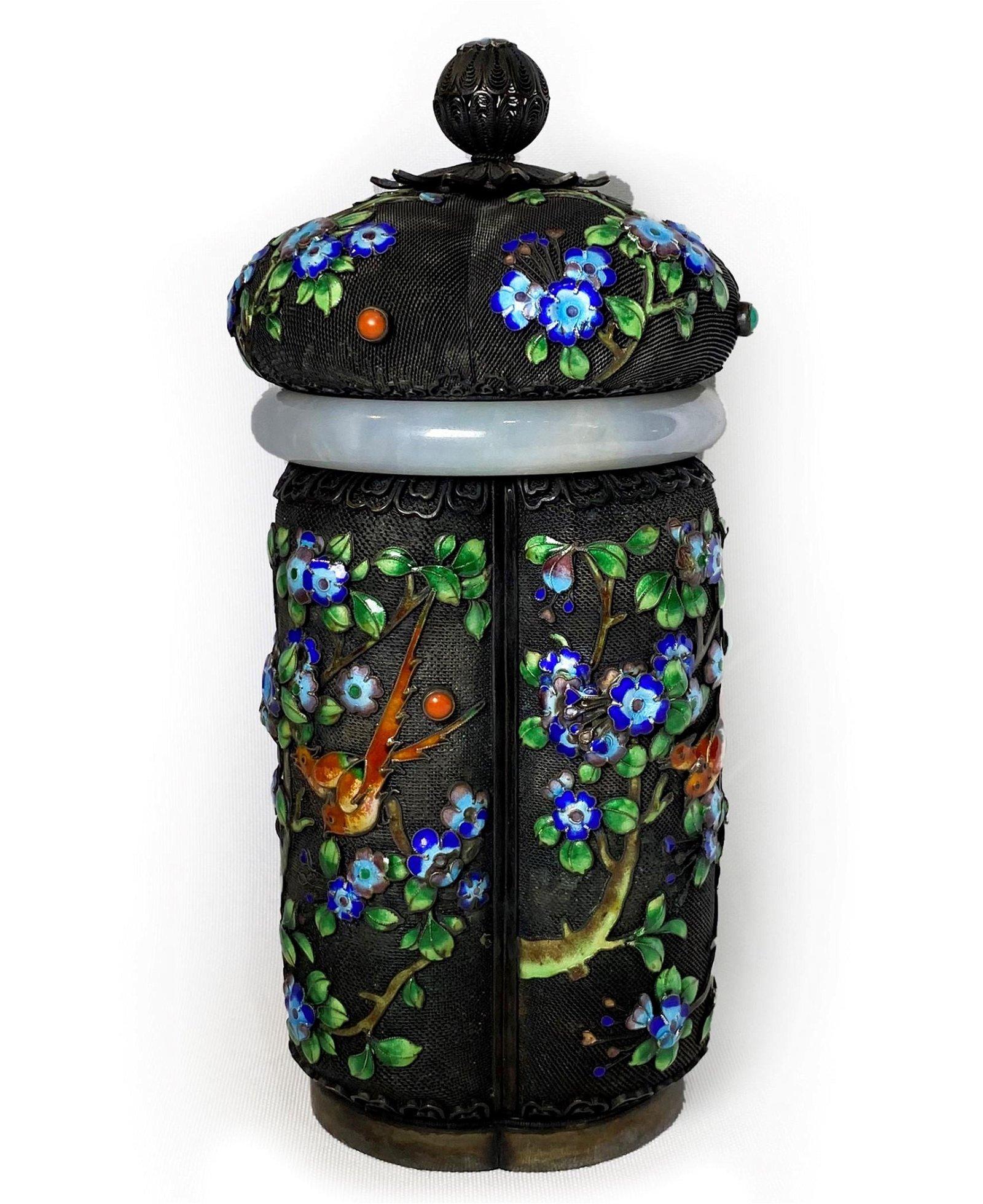 Chinese Silver Filigree Enamel Jade Bangle Tea Caddy