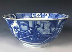 Blue And White 'Figural' Porcelain Bowl, Kangxi Period