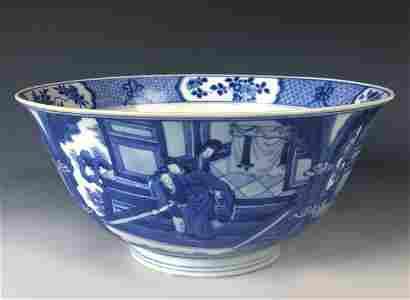 Blue And White 'Figural' Porcelain Bowl, Kangxi Period