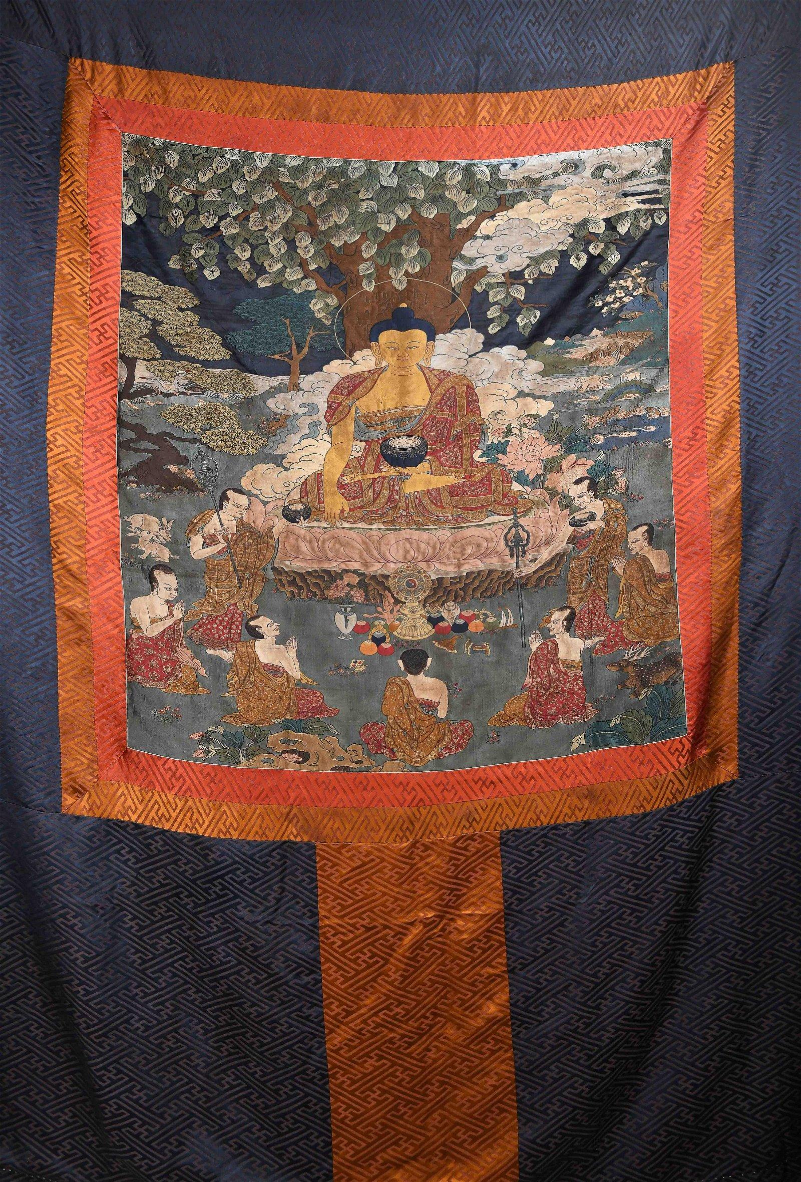 Silk Embroidered Thangka Depicting Shakyamuni W/ Arhats
