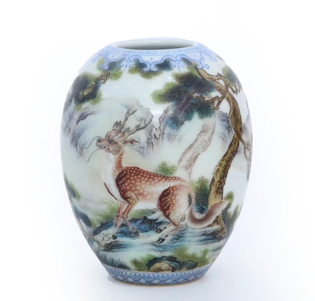 Famille Rose Porcelain Deer Vase With Poem And Mark