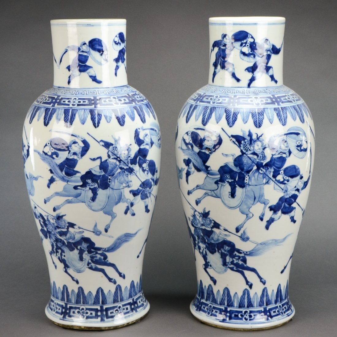 19th C. Pair Of Large Blue and White Porcelain Vases