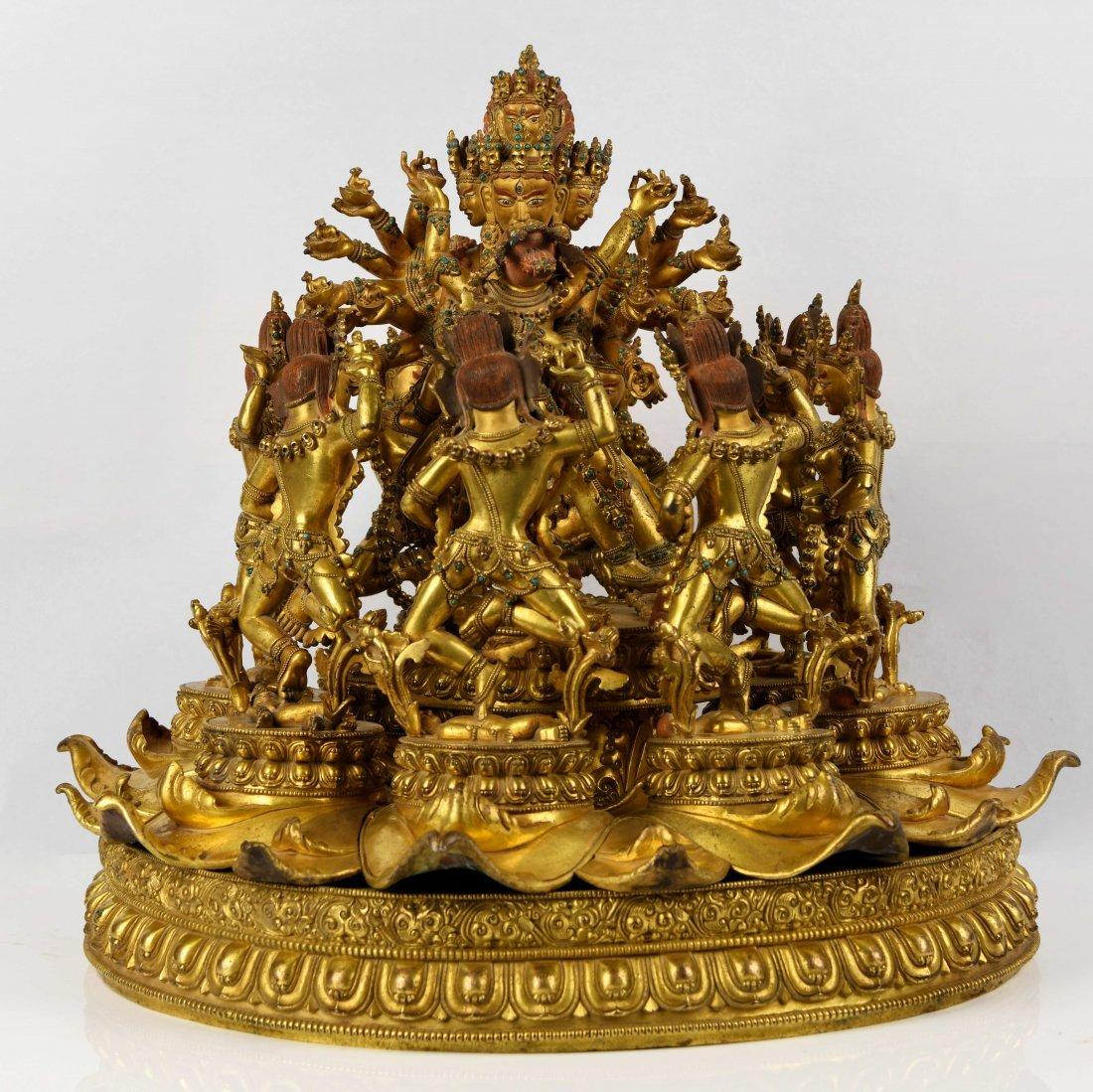 A Rare and Finely Cast Gilt Bronze Chakrasamvara
