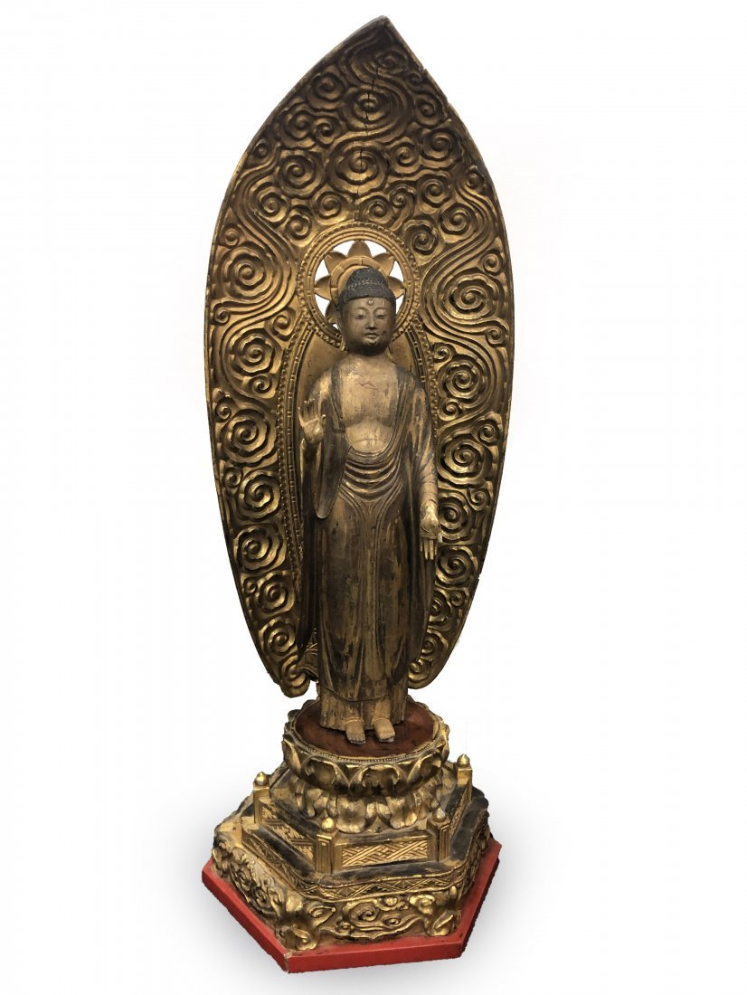 Large Carved Wood and Lacquered  Standing Buddha