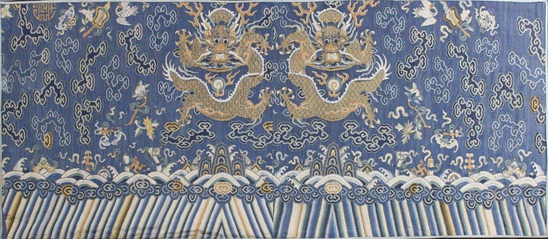 Chinese Framed Silk Kesi Dragon Panel