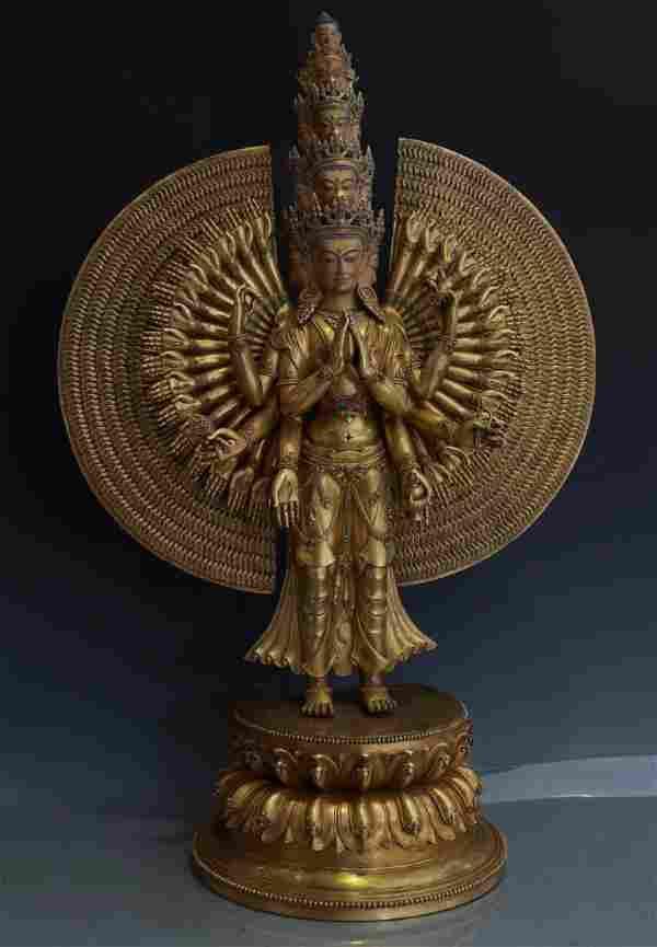 Very Large Exquisitely Cast Gilt Bronze Avalokiteshvara
