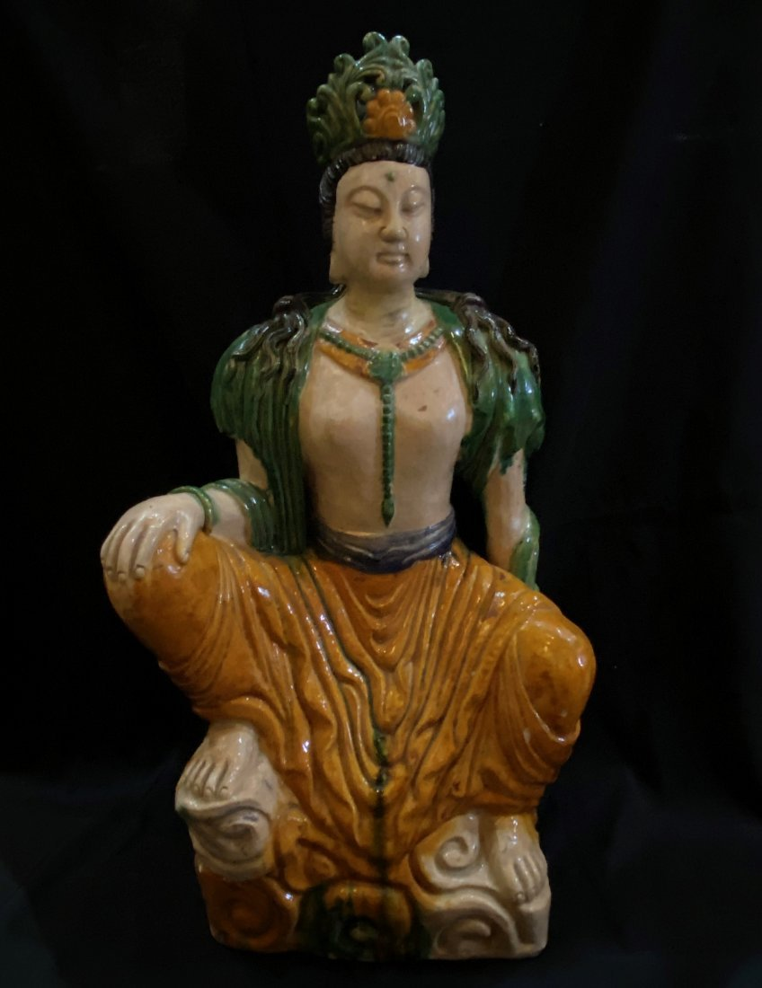 Sancai Porcelain Figure Of Seated Guanyin