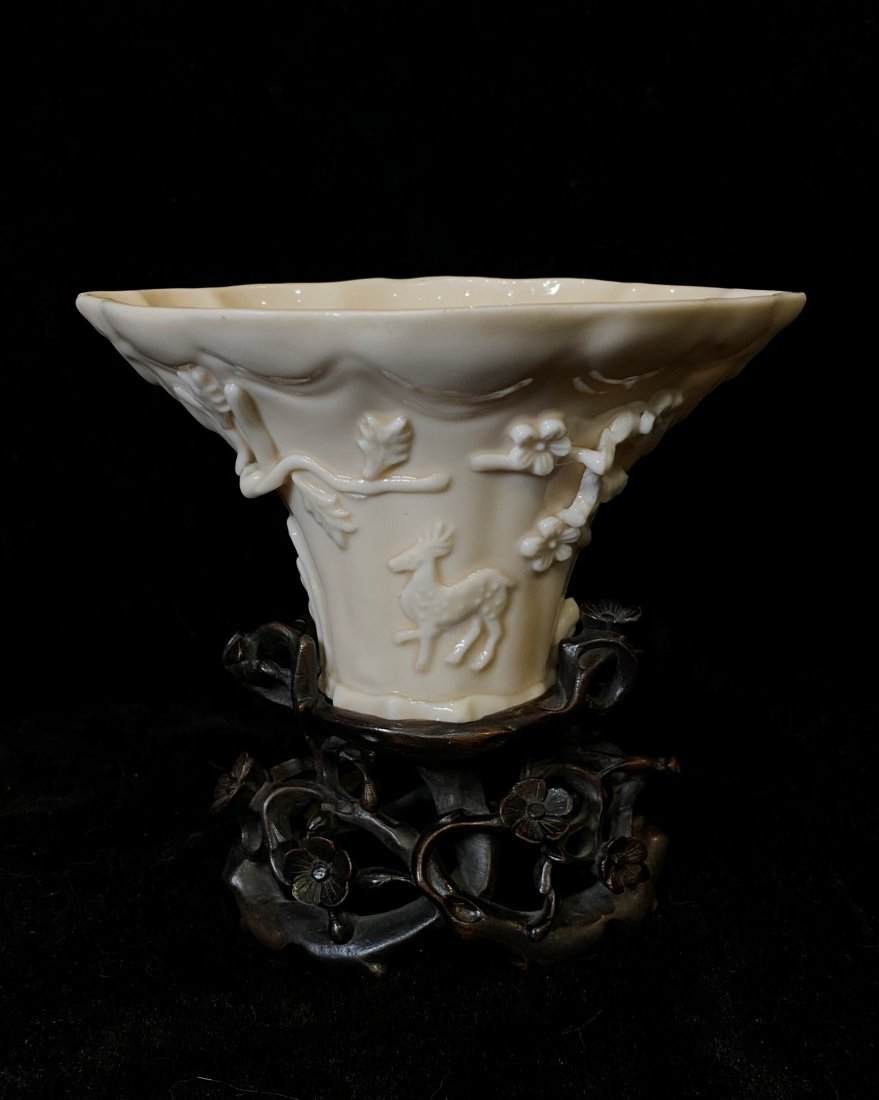 Chinese Dehua Porcelain Libation Cup On Stand