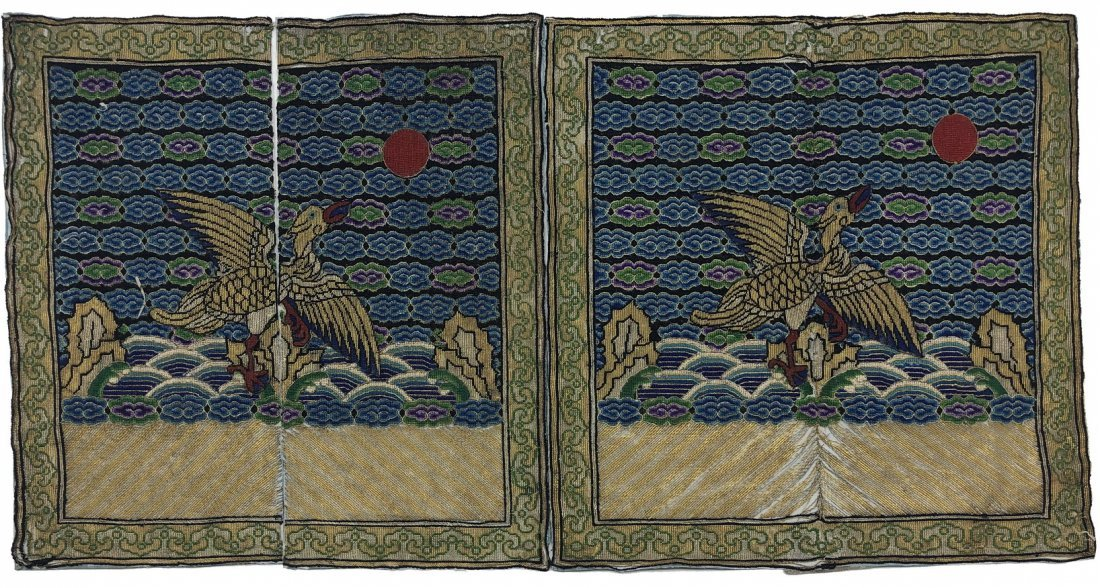 Pair Of Embroidered Silk Goose Panels, Tongzhi Period