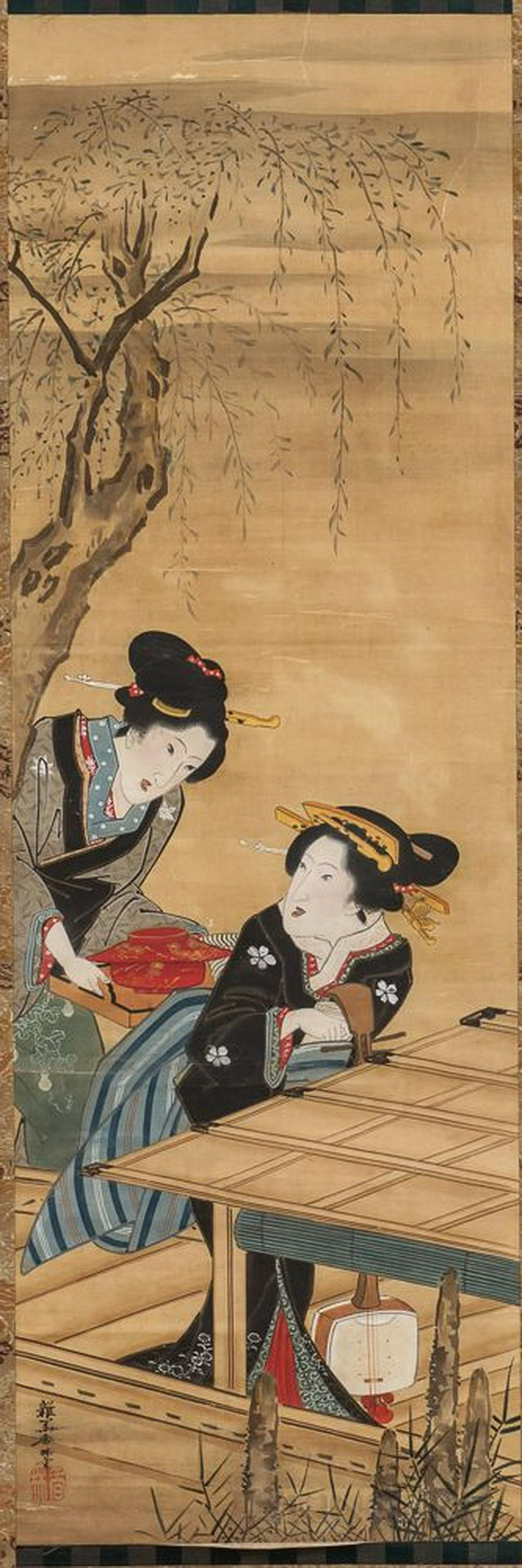 19/20th C. Japanese Hanging Scroll 'Two Beauties'