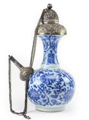 Kangxi Blue & White Porcelain Kendi with Silver Mounts
