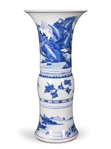 Kangxi Blue and White Beaker Vase, Gu