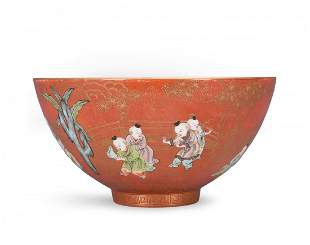 A Coral-Ground Enameled And Gilt 'Boys' Bowl