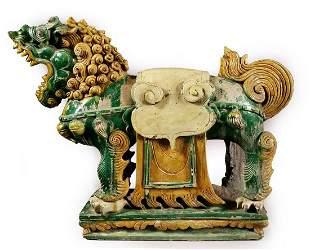 Chinese Ming Dynasty sancai glazed temple lion