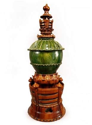 Tang Dyn. Fine Three-Piece Glazed Spirit Jar