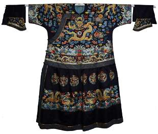 Chinese Silk Embroidered Robe,18/19th C