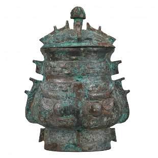 Chinese Ritual Bronze Covered Wine Vessel