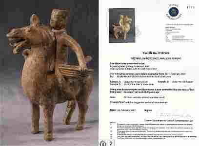 Rare Han Dyn. Greenish-Brown Glazed Horse Rider, TL tes