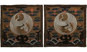 Pair of Embroidered 'Crane' Silk Rank Badges, Qing Dyn