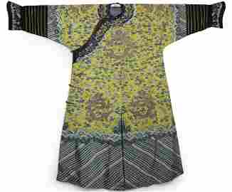 Qing Dyn. Yellow-Ground Silk Kesi Dragon Robe