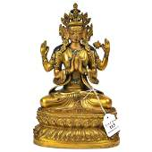 Finely Cast Gilt Bronze Figure  Of Shadakshari