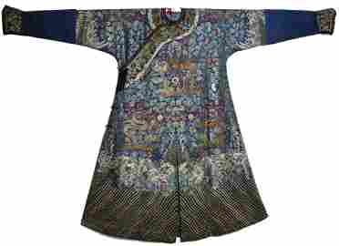 Very Rare Blue 'Twelve Symbol' Silk Dragon Robe