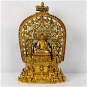 Very Finely Cast Gilt Bronze Buddha On Altar