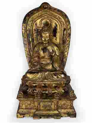 Gilt Lacquered Wood Figure of Bodhisattva On Altar