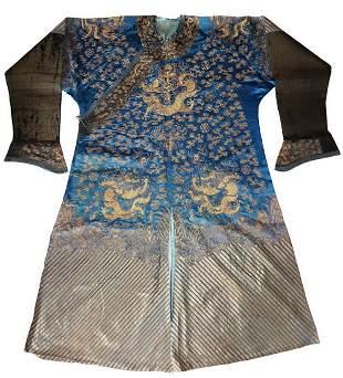 Qing Dyn. Gold Thread 9 Dragon Silk Robe