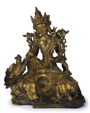 Gilt Bronze Figure of Guanyin Riding A Lion