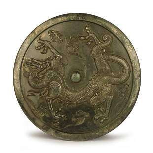 Large Bronze Mirror With Dragon Motif