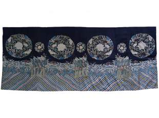 Blue-Ground Silk Kesi Woven Panel W/ Phoenix Roundel