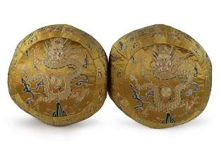 Pair Of Qing Imperial Dragon Embroidered Silk Pillows