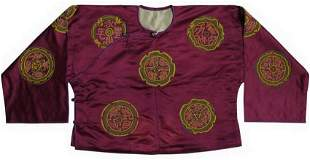 Purple Embroidered Silk Robe W/ Coral Beads