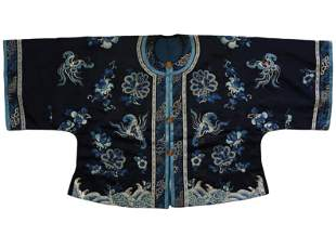 Blue-Ground Embroidered Silk Lady's Jacket