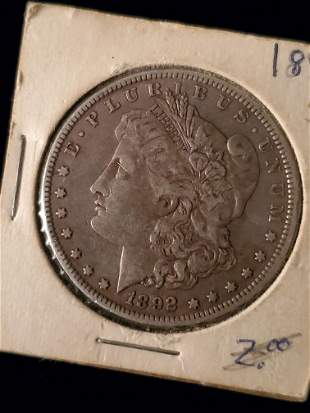 Morgan Silver Dollar, 1892