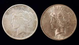 "2 ""Peace†Silver Dollars, Both 1923"