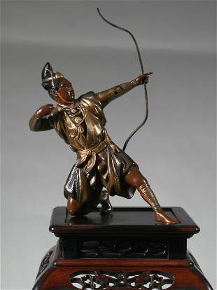 Japanese Bronze Archer On Tall Hardwood Stand