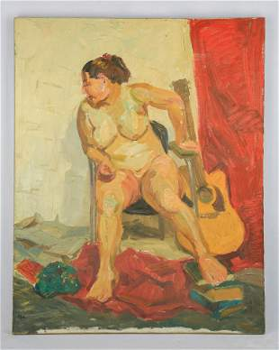 Oil Painting 'Nude', Wu Zuoren