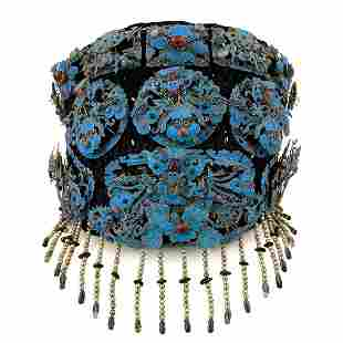 Rare Kingfisher Feather Gem-Inlaid Headdress