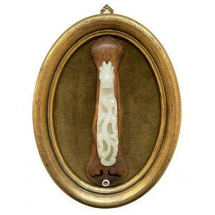 19th C. Chinese Carved Jade Belt Hook On Wood Stand