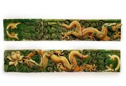 Ming Dyn. Excellent 6-Part Sancai Glazed Temple Frieze