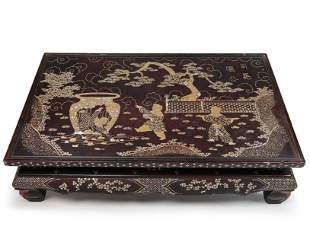 Mother-Of-Pearl Inlaid  Lacquered Rectangular Low Table