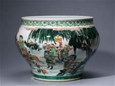 Large Famille Verte 'Figural' Porcelain Jar