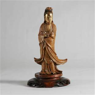 19th C. Large Shousha Stone Guanyin w/ Gilded Body
